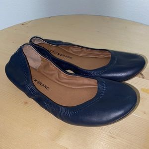 Lucky Brand Elysia 7.5 Blue Leather Ballet Flats